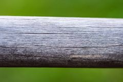 Empty wood plank with blur green nature background bokeh light, Banner or header for advertise on social media. Empty wood plank with blur park green nature stock photo