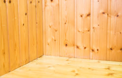 Empty wood plank room with corner, texture background.  stock images