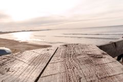 Empty Wood plank table with Sea background. Empty board for your design stock photo