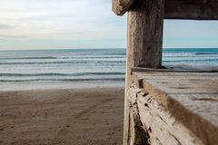Empty Wood plank table with Sea background. Empty board for your design stock image
