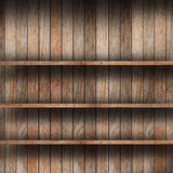 Empty wood shelf. Grunge industrial interior Uneven diffuse lighting version. Design component stock images