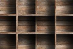 Empty wood shelf. Grunge industrial interior Uneven diffuse lighting version. Design component stock photo