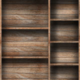 Empty wood shelf. Grunge industrial interior Uneven diffuse lighting version. Design component royalty free stock images