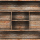 Empty wood shelf. Grunge industrial interior Uneven diffuse lighting version. Design component stock photos