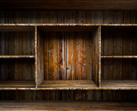 Empty wood shelf. 3D empty wood shelf: grunge interior for your objects vector illustration