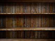 Empty wood shelf. 3D empty wood shelf: grunge interior for your objects stock illustration