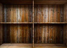 Empty wood shelf. 3D empty wood shelf: grunge interior for your objects royalty free illustration