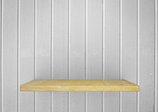 Empty wood shelf on bare with white wall. Product display template. Business presentation. royalty free stock photos