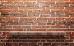 Empty wood shelf on brick wall royalty free stock photos