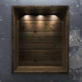 Empty wood shelf on decorative wall. Empty wood shelf on blue decorative wall stock image