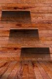 Empty wood shelf. grunge industrial interior. Uneven diffuse lighting version. Design component stock photos