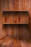 Empty wood shelf. grunge industrial interior Stock Image