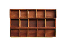 Empty wood shelf. Isolated on white stock image
