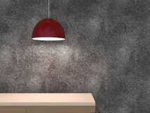Empty wood shelf with lamp. 3d illustration Stock Image