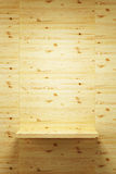 Empty wood shelf on wall Stock Photo
