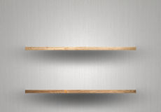 Empty wood shelf on wall royalty free stock photos