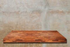 Empty wood shelf on wall Stock Images