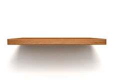 Empty wood shelf on wall Stock Photo