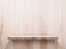 Empty wood shelf on wood wall Stock Photo