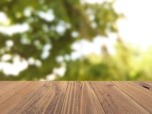 Empty wood surface with backdrop blurred nature background, product display stock photography