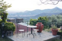 Beautiful terrace with table royalty free stock images
