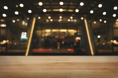 Empty wood table with night street market background.  stock images