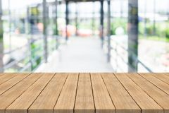 Empty wood table top on blur background at walkway,Space for dis. Play or montage of product Stock Photography