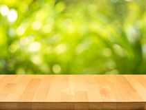 Empty of wood table top on blur of fresh green abstract from garden royalty free stock photography