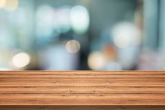 Empty wood table top on blurred background,for montage your prod Royalty Free Stock Photo