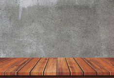 Empty wood table top on concrete background royalty free stock photos