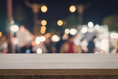 Empty wood table top for product display montage and blurred bok Royalty Free Stock Photography