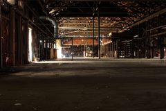 Empty wood warehouse stock images