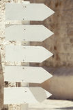 Empty wooden arrow signs. Pointing right. Outdoor Stock Photography