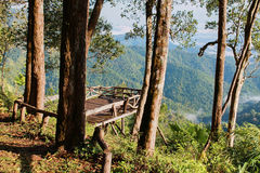 Empty wooden balcony on the viewpoint of mountain Royalty Free Stock Photography