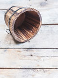 Empty wooden barrel or bucket Royalty Free Stock Photos