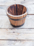 Empty wooden barrel or bucket Stock Images