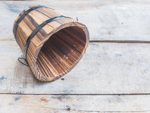 Empty wooden barrel or bucket Royalty Free Stock Photography