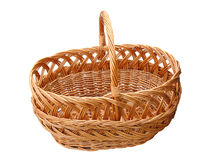 Empty wooden basket isolated over white Royalty Free Stock Images