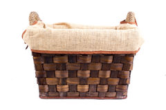 Empty wooden basket. Isolated on white background Stock Images