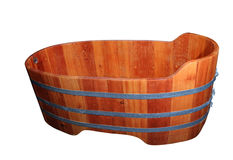 Empty wooden bathtube. On a white background stock photography