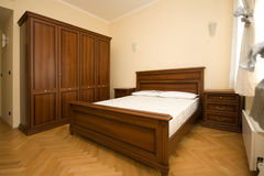 Empty wooden bedroom Royalty Free Stock Images