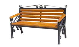 Empty wooden bench. In the green park Royalty Free Stock Photos