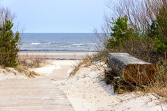 Empty wooden bench near the Baltic sea in Jurmala, Latvia Royalty Free Stock Photography