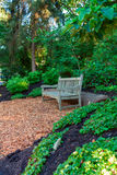 Empty wooden bench in the park. Royalty Free Stock Photos