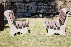 Empty Wooden Bench In The Park. Royalty Free Stock Images