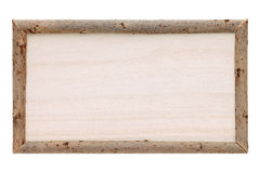 Empty wooden billboard. Isolated on white background Stock Photos