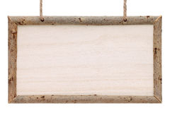 Empty wooden billboard with rope. Isolated on white background Stock Photos