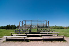 Empty Wooden Bleachers Royalty Free Stock Photos
