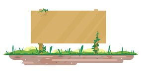 Empty wooden board on ground. One big empty wooden board standing on ground with green grass in flat style isolated, board template for spring and summer text royalty free illustration