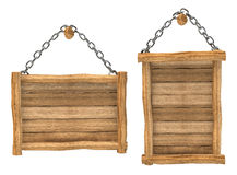 Empty wooden board hanging, chain, isolated Royalty Free Stock Image